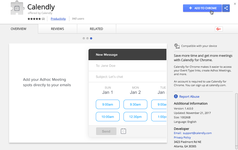 Calendly for Chrome – Help Center - Calendly